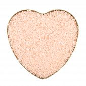 picture of crystal salt  - Heart shaped box filled with pink colored salt crystals - JPG