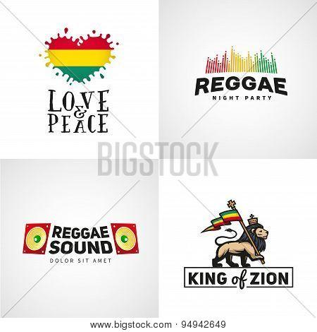 Set of reggae music vector