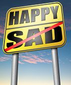 stock photo of sadness  - sad or happy joy and happiness against sadness and bad feeling emotions no regrets - JPG