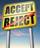 foto of rejection  - accept reject approve or decline and refuse offer proposal or invitation - JPG