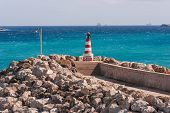 picture of gozo  - Entrance in bay seafront with lighthouse on seafront - JPG