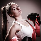 image of martial arts girl  - Martial arts or self defence concept - JPG