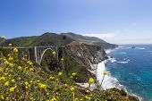 picture of bixby  - Classical California coast landscape with Bixby Bridge and a beautiful dramatic shoreline - JPG