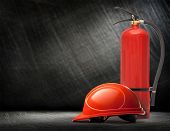 picture of fire extinguishers  - New blank red fire extinguisher in closeup - JPG