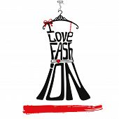 picture of little black dress  - Silhouette of woman classic little dress from words I love fashion - JPG