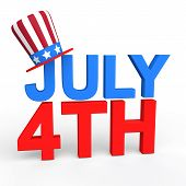 foto of uncle  - 3d render of July 4th text with uncle sam hat - JPG