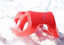 foto of rebs  - reb sled for playing in the snow in mountains - JPG