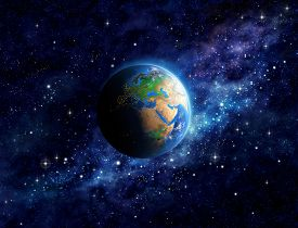 stock photo of deep  - Imaginary view of planet Earth into deep space focused on Europe Asia and Middle East - JPG