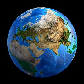 picture of landforms  - Detailed picture of the Earth and its landforms isolated on black - JPG