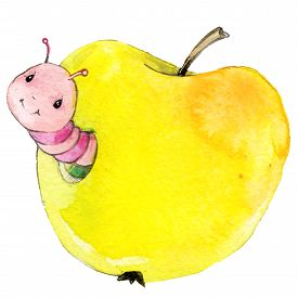 image of caterpillar cartoon  - Cartoon cute insect watercolor illustration for kid education - JPG