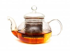 foto of fynbos  - Rooibos tea being brewed in a small glass teapot isolated on white - JPG