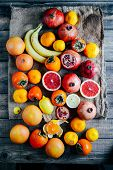 Fresh Fruits. Mixed Fruits Background. Healthy Eating, Dieting. poster