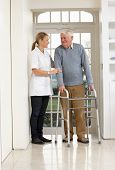 stock photo of zimmer frame  - Carer Helping Elderly Senior Man Using Walking Frame - JPG