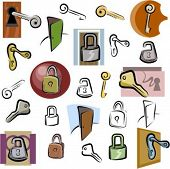 A set of lock and key vector icons in color, and black and white renderings.