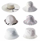 foto of beach hat  - Six white summer hats isolated on white - JPG