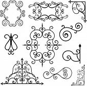 stock photo of wrought iron  - A set of 10 exquisitive and very clean ornamental designs - JPG