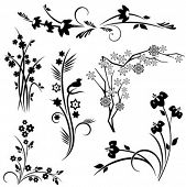 image of scroll design  - A set of 6 japanese floral designs - JPG