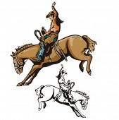 picture of bareback  - Illustration of a cowboy riding a saddled horse - JPG