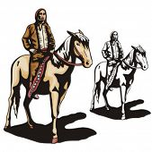 stock photo of cree  - Illustration of an indian riding a horse - JPG