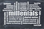 millenials word cloud on a vintage blackboard isolated on white - demography concept poster