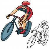 Image of bicycle rider. Vector illustration.