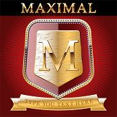 image of maxim  - Shield in gold and brilliant with alphabet Letter m - JPG