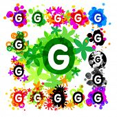 image of g-spot  - Colorful set of a funny alphabet letter g - JPG