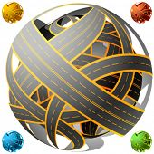 Tangled road  skein. Traffic jam. Spherical