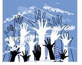 picture of convocation  - hands grunge vector - JPG