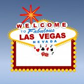 stock photo of las vegas casino  - welcome to Las Vegas sign with cards and dice - JPG