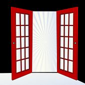 image of open door  - open door with burst - JPG