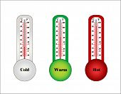 three thermometers- cold warm and hot