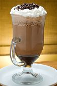 stock photo of latte coffee  - ice latte frappuccino in a big cup with cream and chocolate - JPG