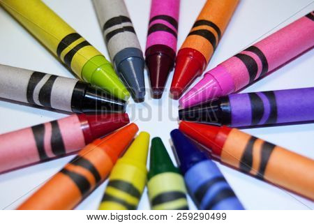 Multi Color Coloring Crayons Arranged