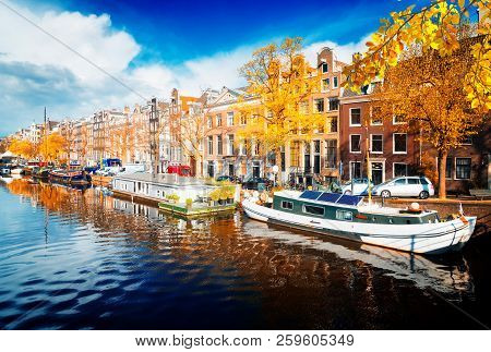 Embankment Of Amstel Canal In