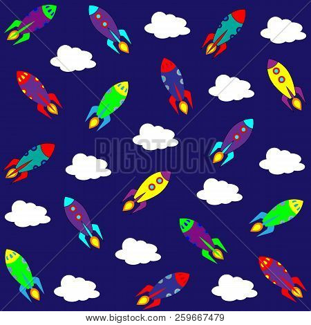 Vector Space Seamless Pattern Children