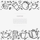 Coffee Handdrawn Banner With Space For Your Text. Handdrawn Vector Illustation With Coffee Cups And  poster