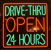 "stock photo of junk food  - ""neon sign"" series ""DRIVE-THRU OPEN 24 Hours"" - JPG"