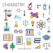 Постер, плакат: Set Of Scientific Chemistry Vector Flat Icons Chemistry Education Symbols In Colored Cute Design Wi