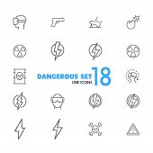 Dangerous Icons. Set Of Line Icons. Bomb, Radiation Sign, Lightning Bolt. Caution Symbols Concept. V poster