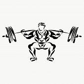 Muscular Man, Weightlifter, Lifting Barbell Logo Creative poster