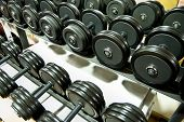 image of lifting weight  - Closeup of a row of free weights in the gym - JPG