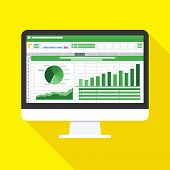 Spreadsheet On Computer Screen Flat Icon. Financial Accounting Report Concept. Office Things For Pla poster
