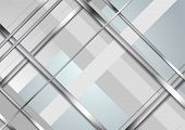 Grey Blue Tech Metallic Abstract Background. Silver Metal Stripes On Light Backdrop. Hi-tech Vector  poster