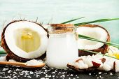 Coconut Milk Glass Jar With Nuts And Oil Bottles, Fresh Coconut Flakes. Homemade Skin & Beauty Care  poster