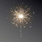 Bengal Fire. New Year Sparkler Candle Isolated On Transparent Background. Realistic Vector Light Eff poster