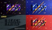 A Set Of Banners Black Friday Sale. Abstract Ink Blots On A Background. Great Discounts. Brush Strok poster