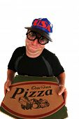 stock photo of pizza parlor  - a pizza delivery man brings you Fresh Baked Pizza right to your door - JPG