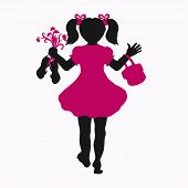 Silhouette Of A Girl Walking Barefoot, With Flowers, Sandals And A Bag poster