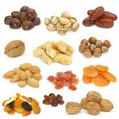 stock photo of dry fruit  - nuts and dried fruits collection on white background - JPG